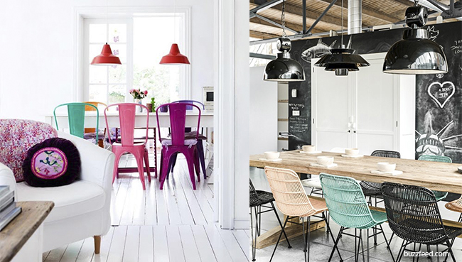 sillas de colores como adorno